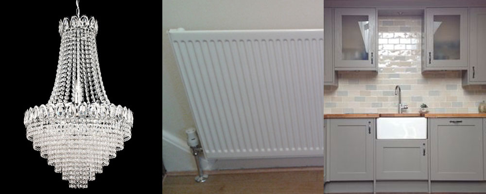 Chendeliers, radiators, kitchen fitting